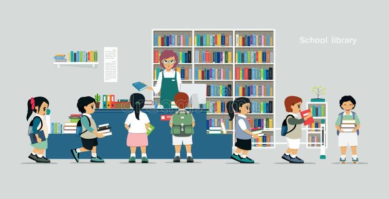 Biblioteca escolar ilustração do vetor