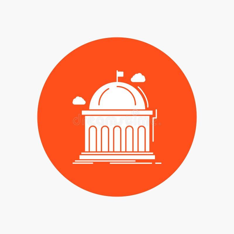 Biblioteca, escuela, educación, aprendiendo, icono blanco del Glyph de la universidad en círculo Ejemplo del bot?n del vector libre illustration