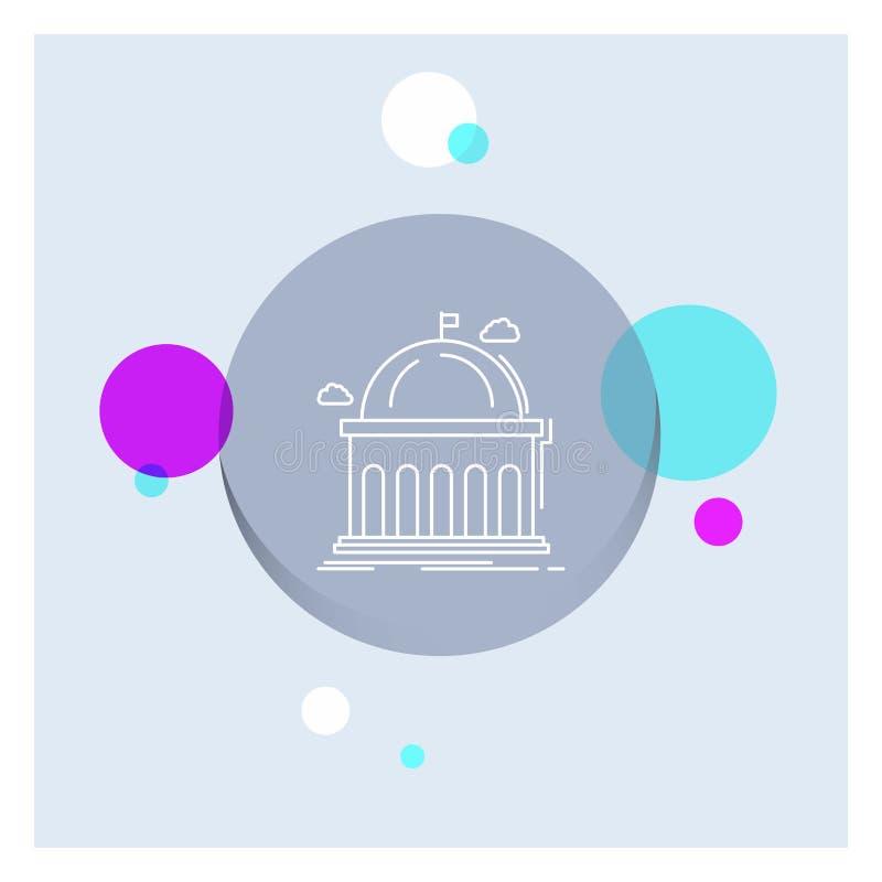 Biblioteca, escuela, educación, aprendiendo, línea blanca fondo colorido de la universidad del círculo del icono stock de ilustración