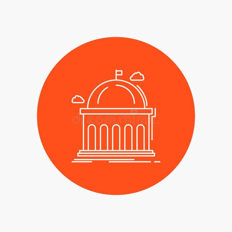 Biblioteca, escuela, educación, aprendiendo, línea blanca icono de la universidad en fondo del círculo Ejemplo del icono del vect stock de ilustración