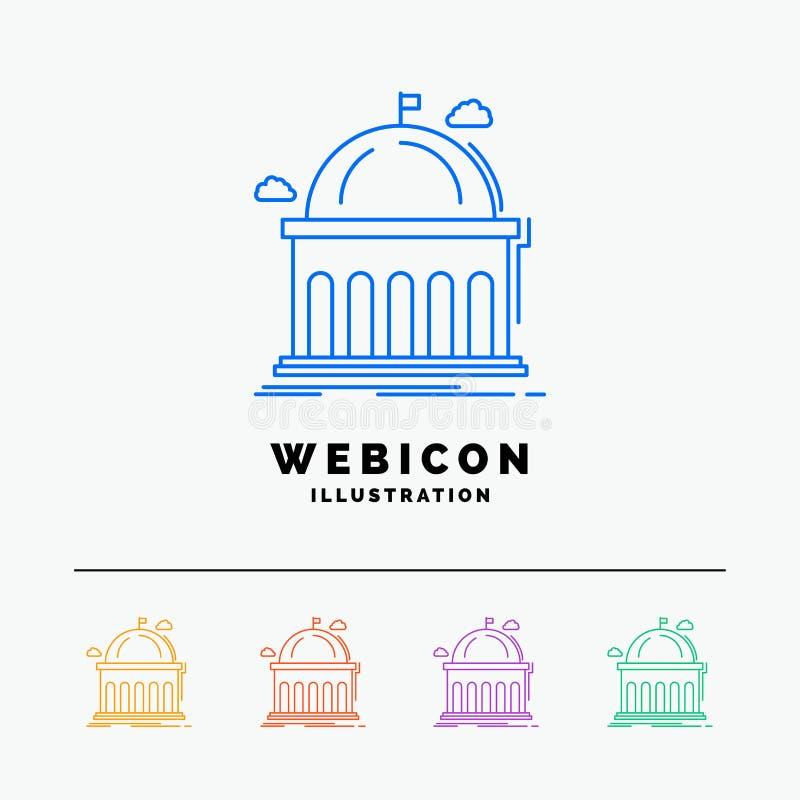 Biblioteca, escuela, educación, aprendiendo, línea de color de la universidad 5 plantilla del icono de la web aislada en blanco I ilustración del vector