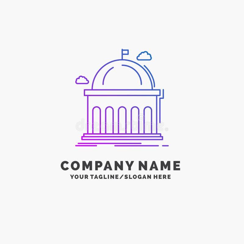 Biblioteca, escuela, educación, aprendiendo, negocio púrpura Logo Template de la universidad Lugar para el Tagline libre illustration