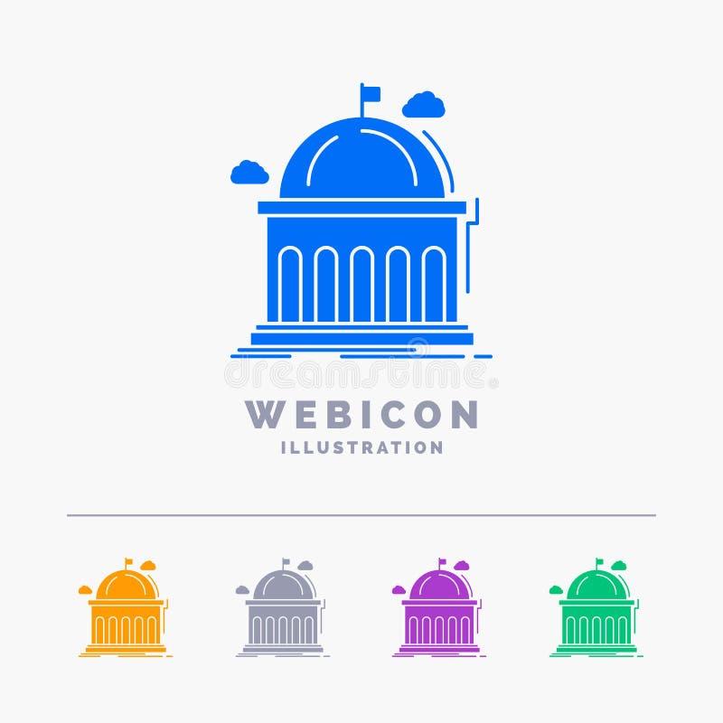 Biblioteca, escuela, educación, aprendiendo, plantilla del icono de la web del Glyph del color de la universidad 5 aislada en bla ilustración del vector