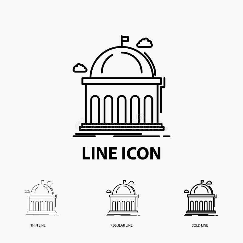 Biblioteca, escuela, educación, aprendizaje, icono de la universidad en la línea estilo fina, regular e intrépida Ilustraci?n del stock de ilustración