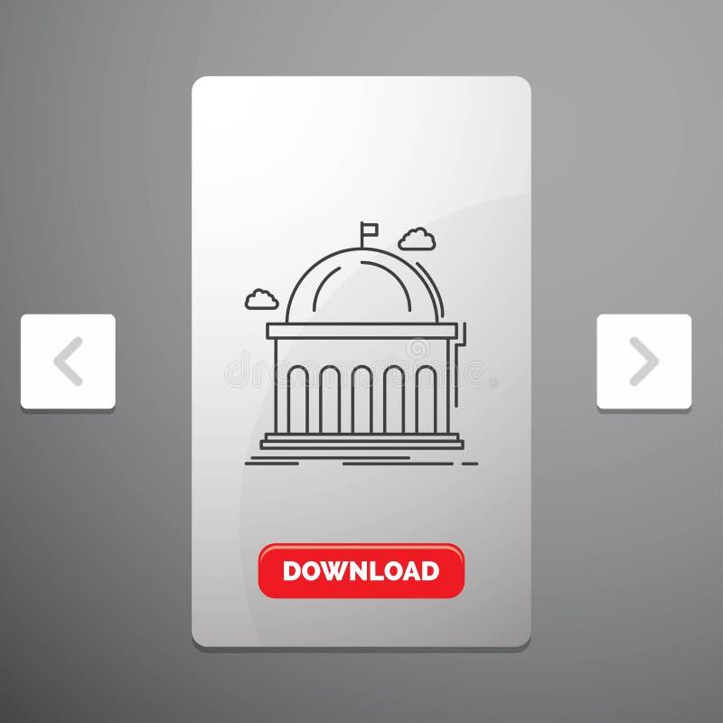 Biblioteca, escuela, educación, aprendizaje, línea icono de la universidad en diseño del resbalador de las paginaciones de la org libre illustration