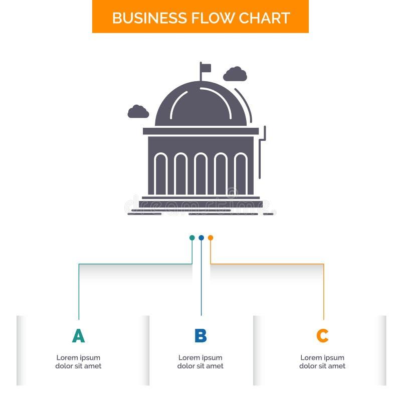 Biblioteca, escuela, educaci?n, aprendiendo, dise?o del organigrama del negocio de la universidad con 3 pasos Icono del Glyph par stock de ilustración