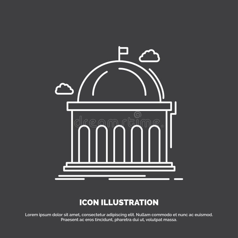 Biblioteca, escuela, educaci?n, aprendiendo, icono de la universidad L?nea s?mbolo del vector para UI y UX, p?gina web o aplicaci libre illustration