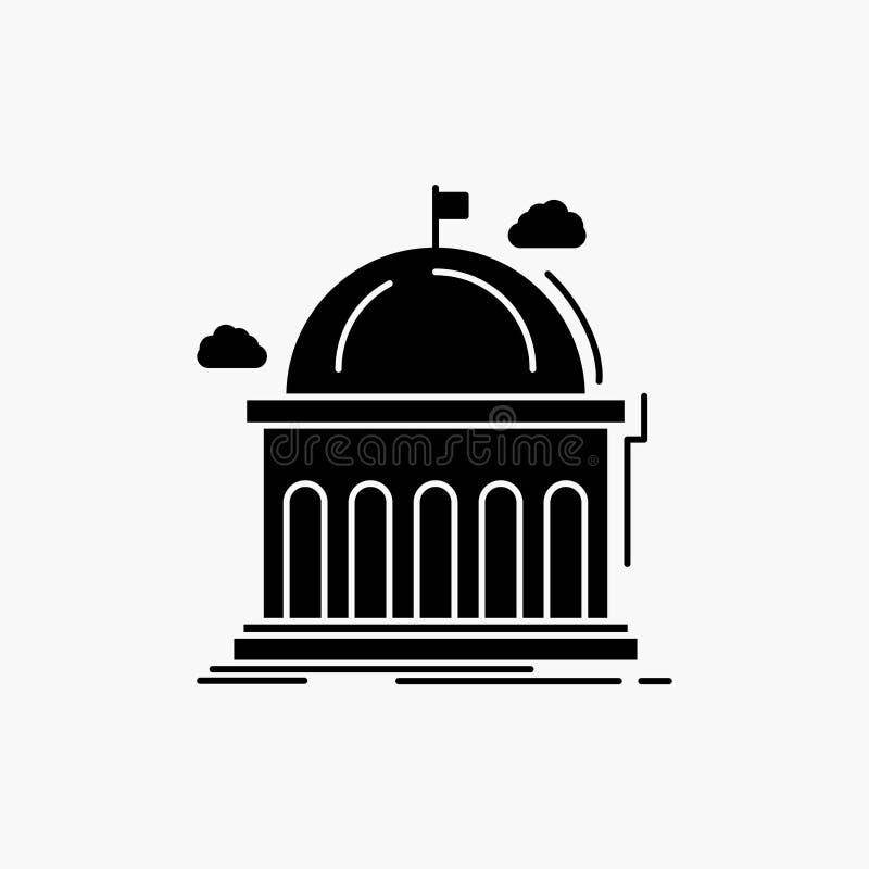 Biblioteca, escuela, educaci?n, aprendiendo, icono del Glyph de la universidad Ejemplo aislado vector stock de ilustración