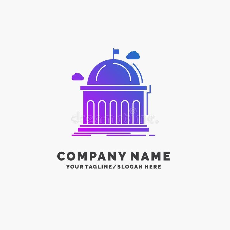 Biblioteca, escuela, educaci?n, aprendiendo, negocio p?rpura Logo Template de la universidad Lugar para el Tagline stock de ilustración