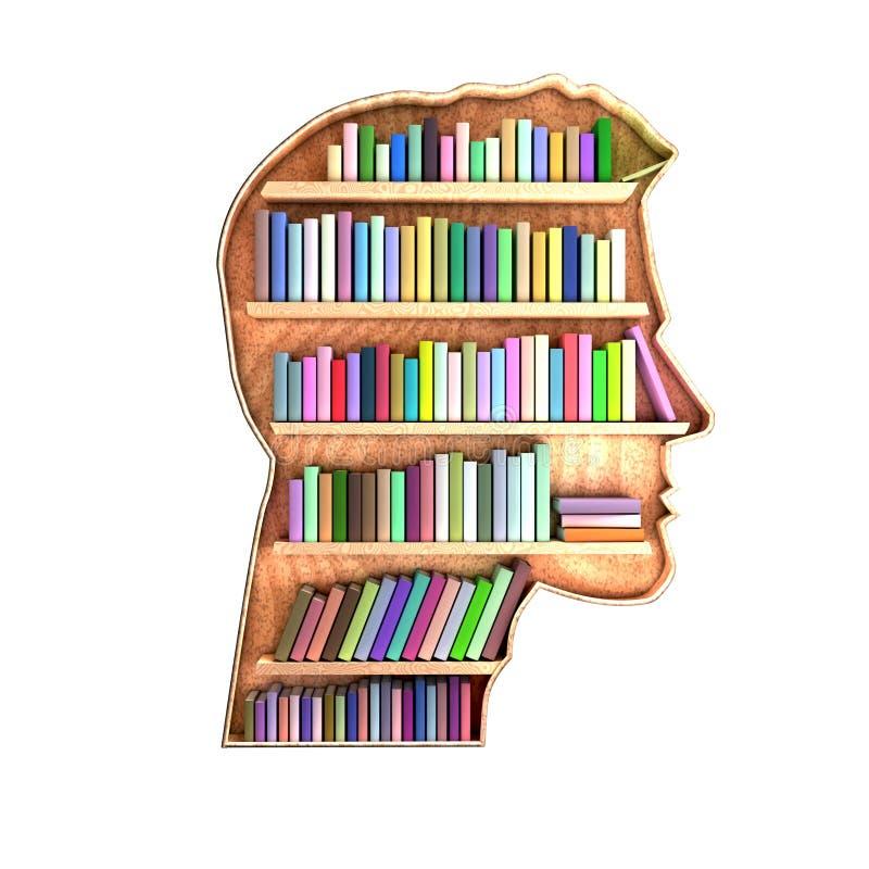 Biblioteca formada cabeza que contiene los libros en estantes stock de ilustración