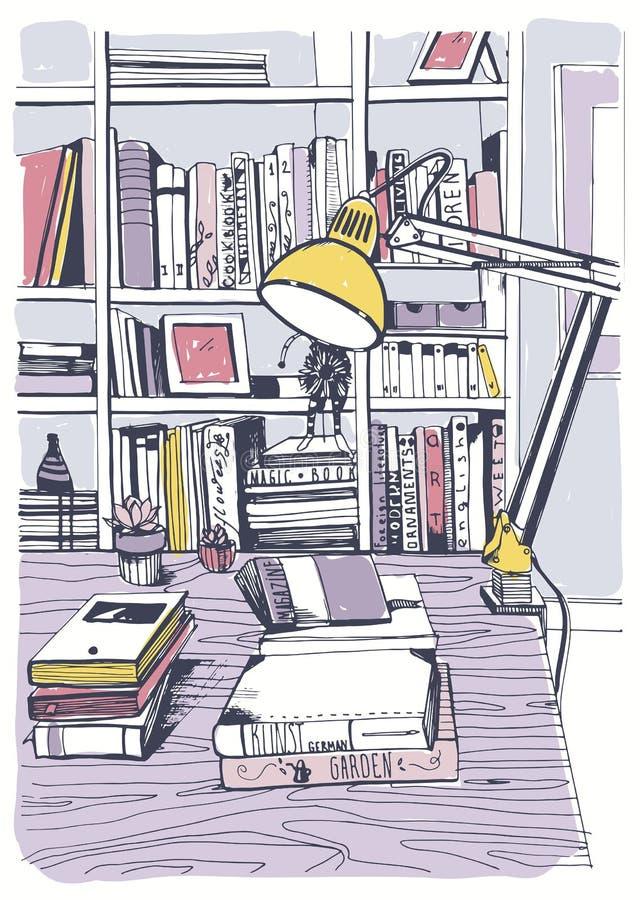 Biblioteca home interior moderna, estantes, ilustração colorida tirada mão do esboço ilustração do vetor