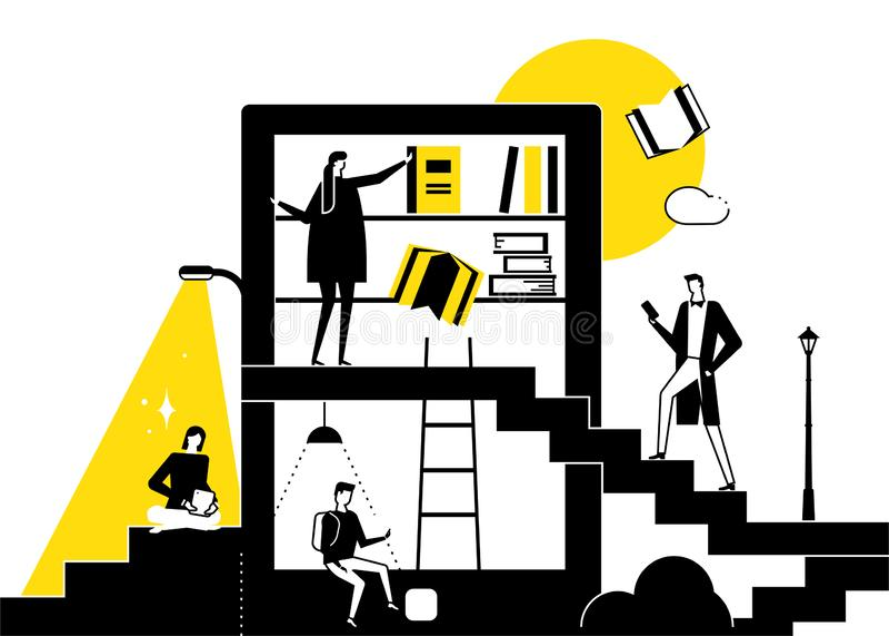 Biblioteca - illustrazione concettuale di stile piano moderno di progettazione illustrazione vettoriale