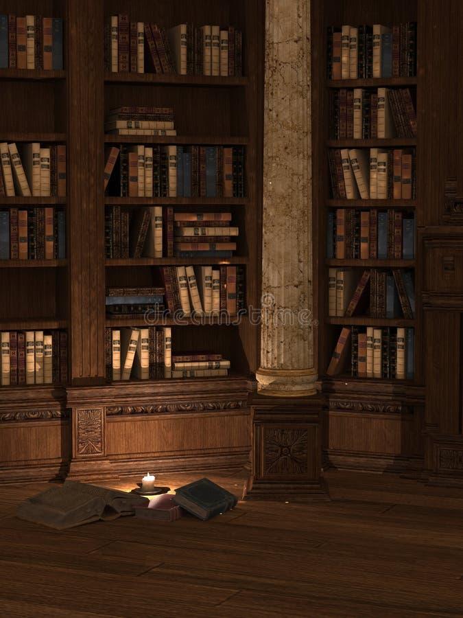 Biblioteca iluminada por velas imagen de archivo libre de regalías