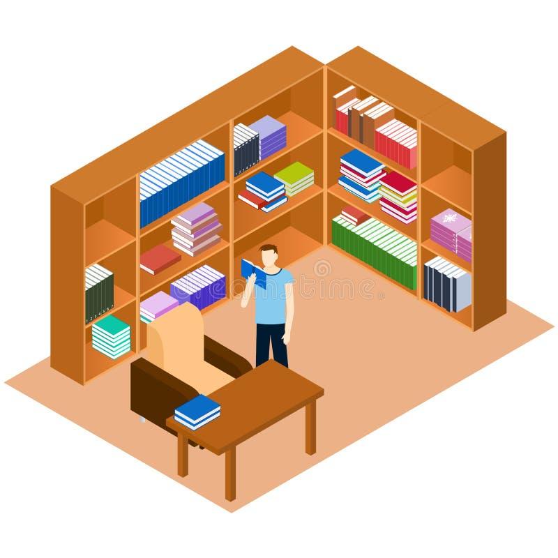 Biblioteca isométrica Hombre que lee un libro Lugar cómodo para el rea stock de ilustración