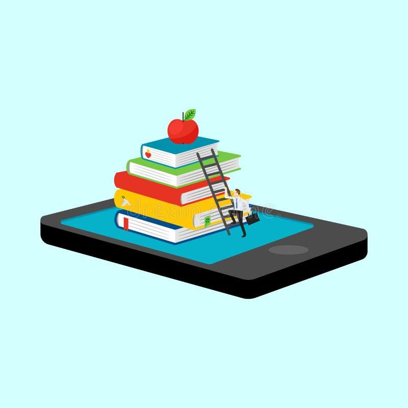 Biblioteca móvil en smartphone stock de ilustración