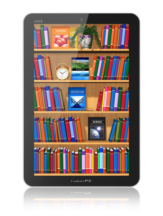 Biblioteca no computador da tabuleta ilustração do vetor