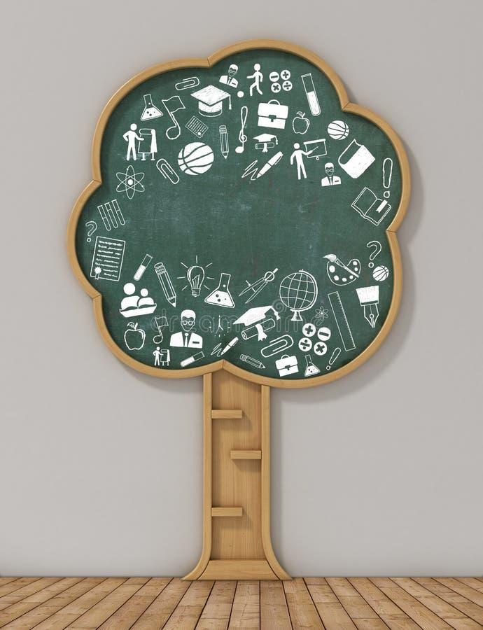 Biblioteca no formulário do conceito da árvore e do desenho ilustração royalty free