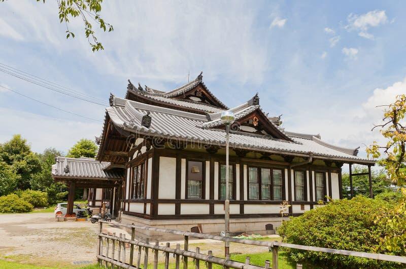 Biblioteca pública anterior y x28; 1908& x29; en el castillo de Yamato Koriyama, Japón imagen de archivo libre de regalías