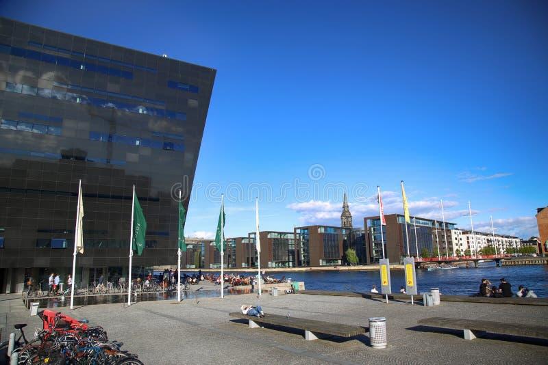 A biblioteca real de Copenhaga em Copenhaga, Dinamarca fotos de stock