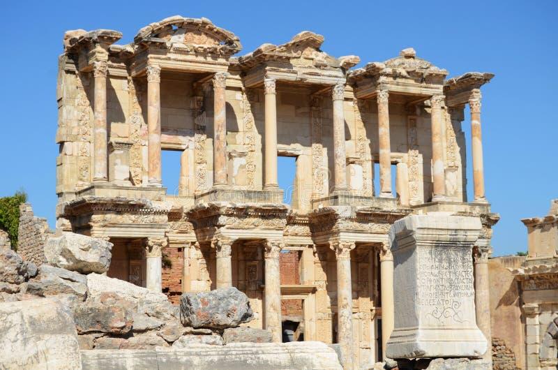 Biblioteca romana di Celso in Ephesus (Efes) immagini stock