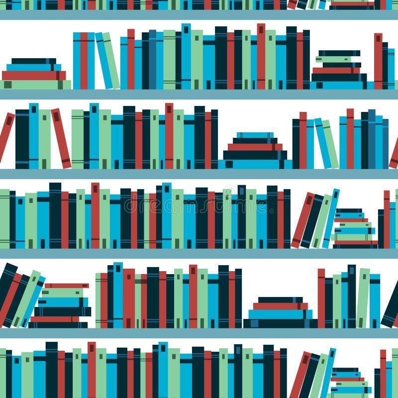 Biblioteca sem emenda de teste padrão com livros Vetor ilustração do vetor