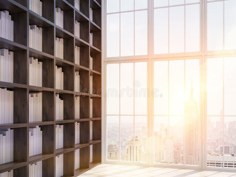 Biblioteca soleggiata della casa a New York illustrazione di stock