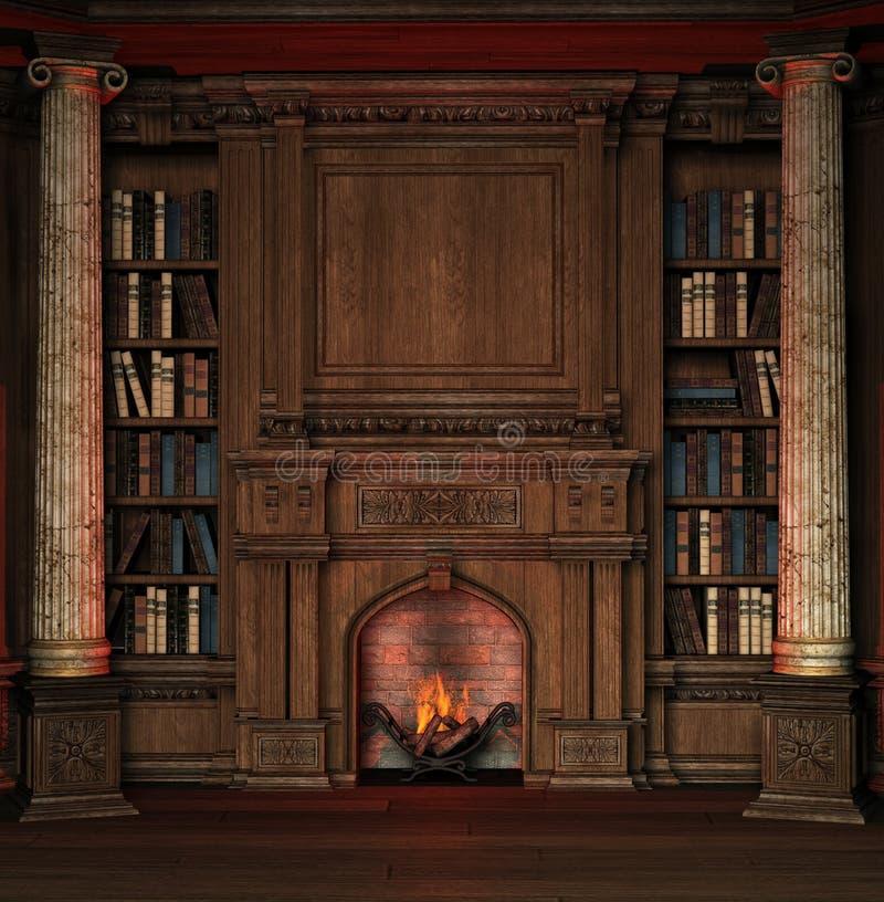 Biblioteca velha ilustração royalty free