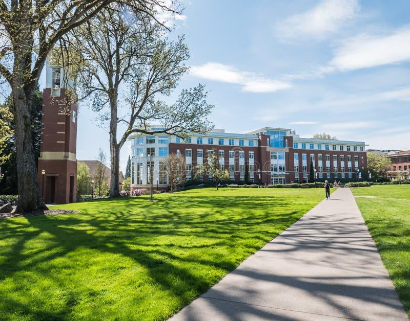 Biblioteca y campanario en la universidad de estado de Oregon, Corvallis, O fotos de archivo libres de regalías