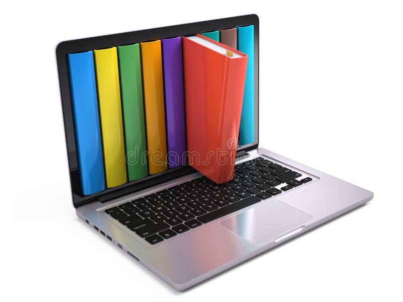 Biblioteca y concepto en línea de la educación - ordenador portátil de Digitaces con los libros coloridos stock de ilustración