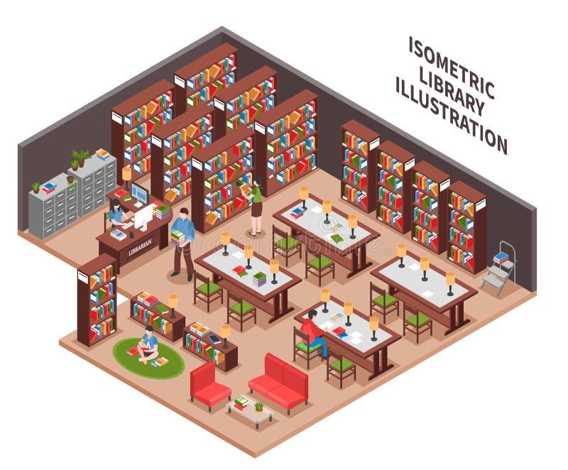 Biblioteczna Isometric ilustracja ilustracji