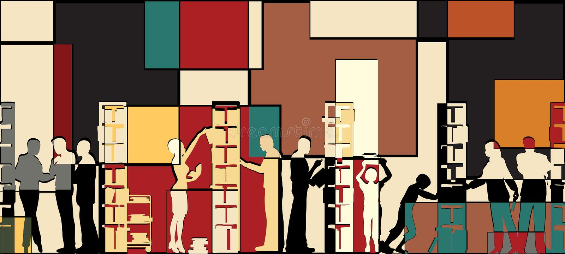 biblioteczna mozaika ilustracji