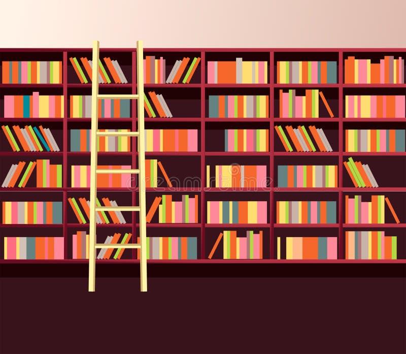 Biblioteczna półka na książki ściana ilustracja wektor