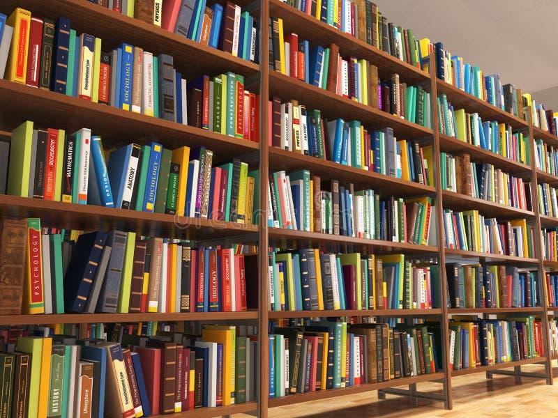 Biblioteczne sterty książki i półka na książki ilustracji