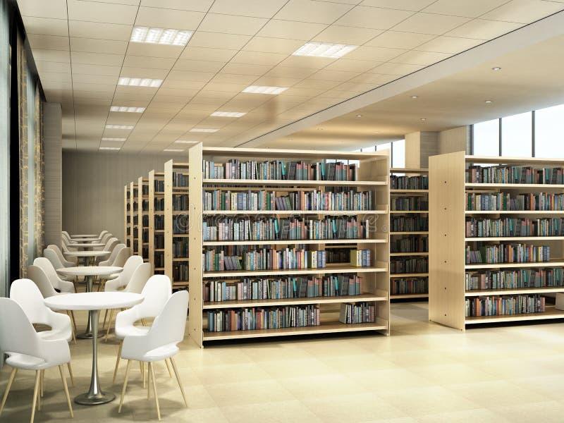 Biblioteczni izbowi p??ka na ksi??ki sto?y z krzes?o lekkim bibliotecznym pokojem 3d odp?acaj? si? royalty ilustracja
