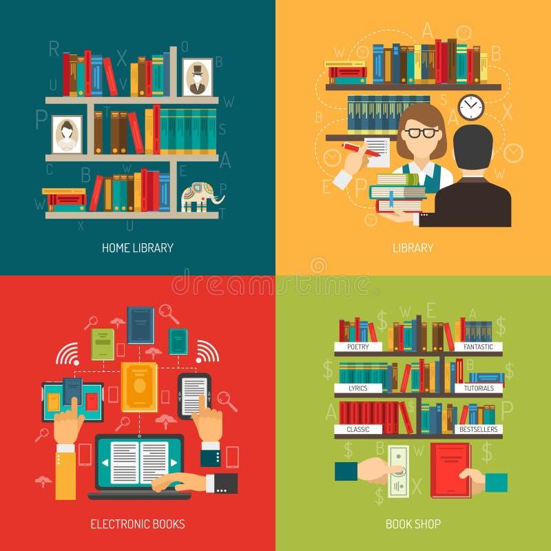 Biblioteczni 4 pojęcia ikon Płaski kwadrat royalty ilustracja