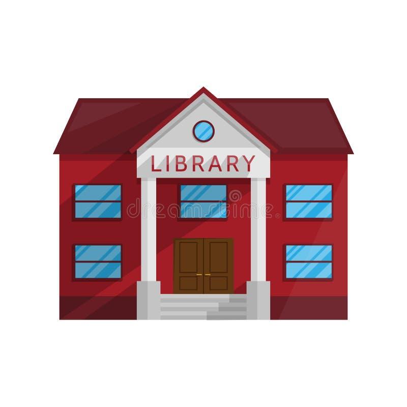 Biblioteczny budynek w mieszkanie stylu odizolowywającym na białym tle ilustracja wektor