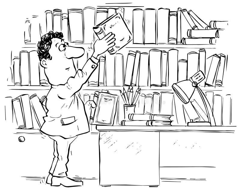 biblioteczny czytelnik ilustracji