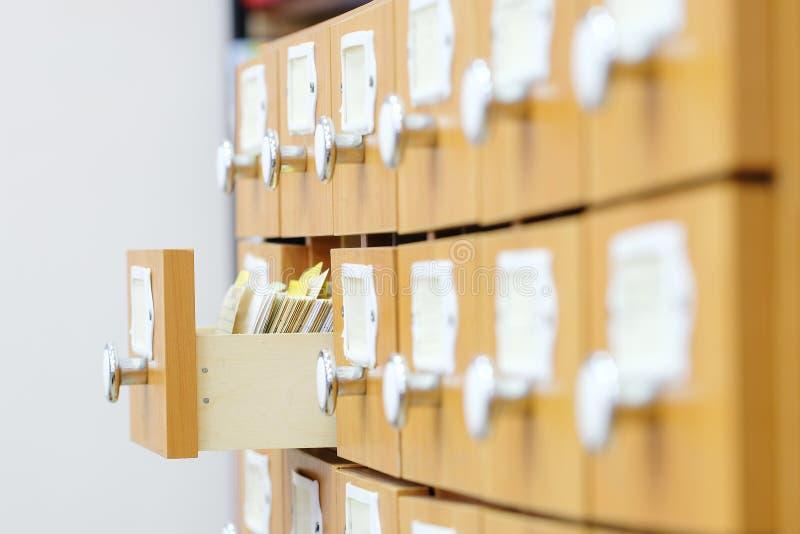 Biblioteczny katalog zdjęcie stock
