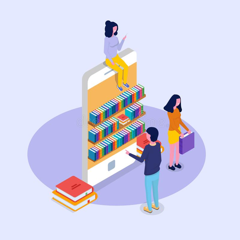 Biblioteczny mobilny online isometric pojęcie Mikro ludzie czytelniczych książek ilustracja wektor
