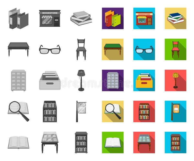 Biblioteka i bookstore mono, płaskie ikony w ustalonej kolekcji dla projekta Ksi??ki i meblowanie symbolu zapasu wektorowa sie? ilustracji