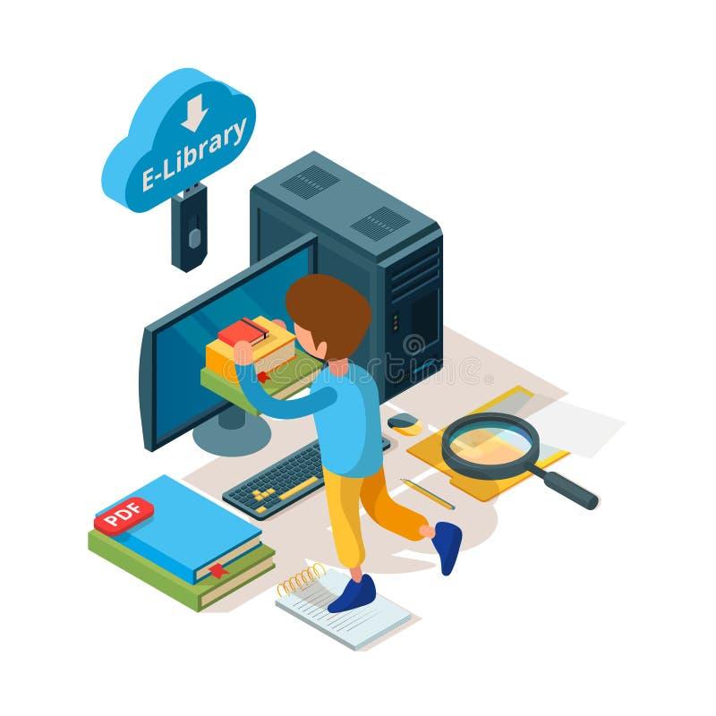 Biblioteka isometric Online edukacji książki i czytelnika kolegium cyfrowi zarchiwizowani ucznie uczy się wektor ilustracja wektor