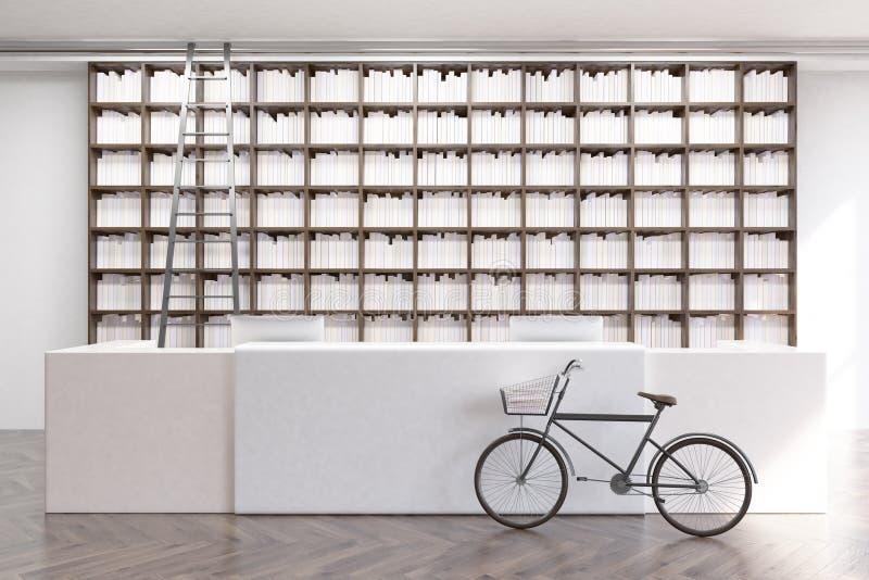 Biblioteka z rowerem ilustracja wektor