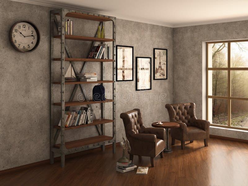 Bibliothèque à la maison avec des fauteuils illustration de vecteur