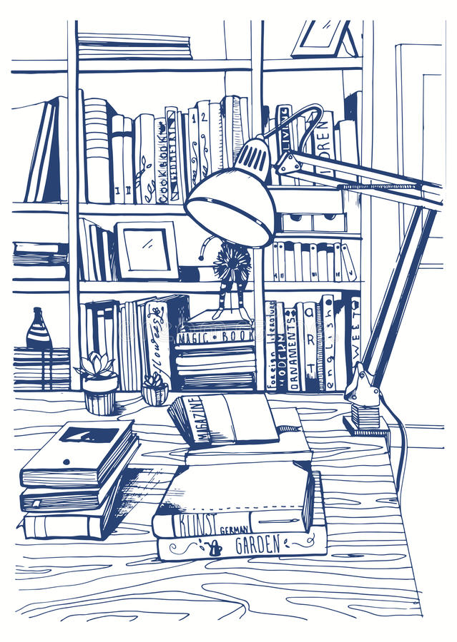 Bibliothèque à la maison intérieure moderne, étagères, illustration tirée par la main de croquis illustration de vecteur