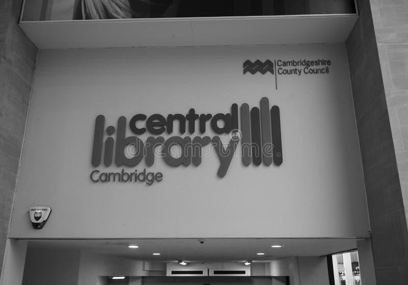 Bibliothèque centrale de Cambridge en noir et blanc image libre de droits