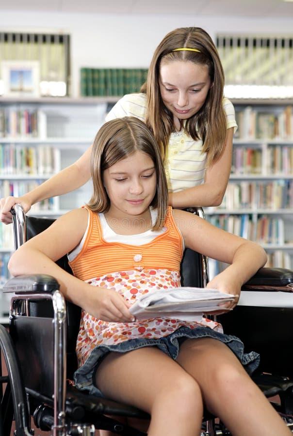 Bibliothèque d'école - étudiant image libre de droits