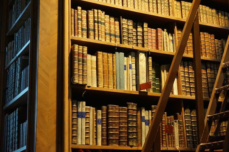 Bibliothèque dans le hall principal de la bibliothèque autrichienne nationale dans le palais de Hofburg photos libres de droits