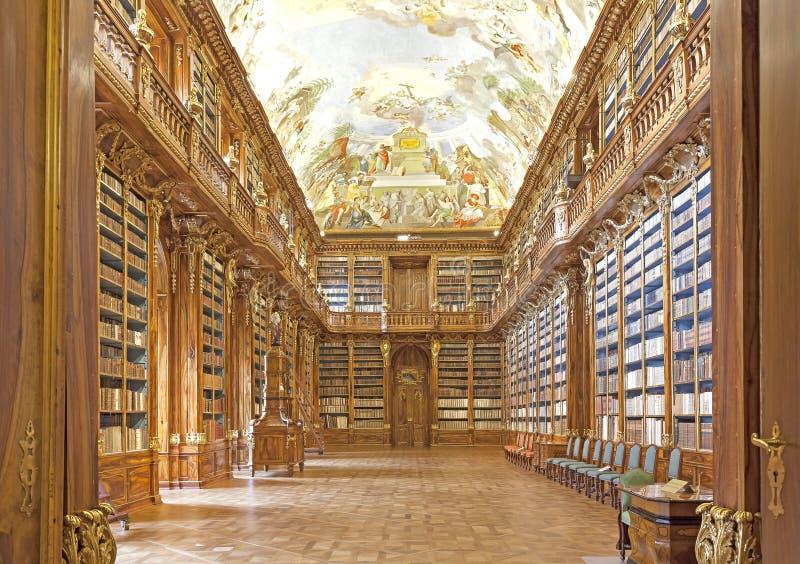 Bibliothèque dans le monastère de Strahov à Prague, images libres de droits