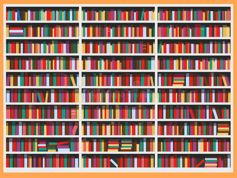 Bibliothèque de bibliothèque complètement des livres illustration libre de droits