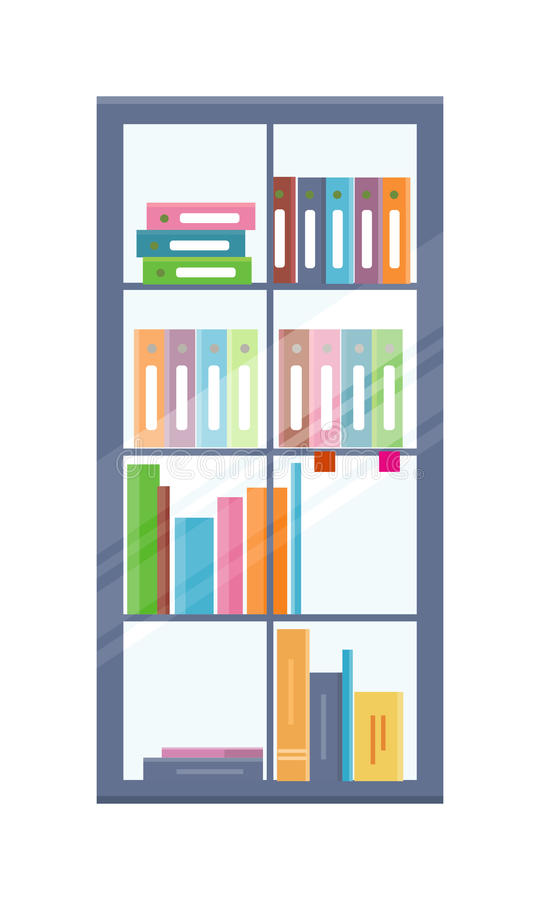 Bibliothèque de bureau avec des dossiers illustration libre de droits